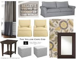 The Yellow Cape Cod Lemon And Gray Rug And Two Toned Drapes