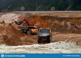 100 Earth Mover Truck Loading Dumper With Sand In Quarry Excavator