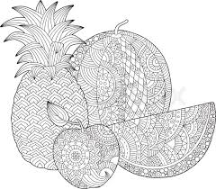 Vector Hand Drawn Pineapple Watermelon Apple Illustration For Adult Coloring Book Freehand Sketch Anti Stress Page With Doodle