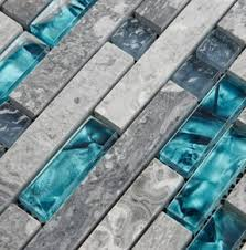 Gray And Teal Bathroom by Blue Shell Tile Glass Mosaic Kitchen Backsplash Tiles Sgmt026 Grey