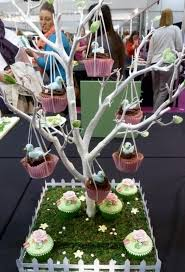 Spring Theme Cupcakes Hanging From Tree