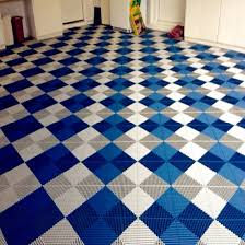 Brilliant Rubber Floor Squares White Blue Vented Grid Loc Garage Tiles Flooring