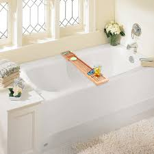 bamboo bathtub caddy with expandable arms