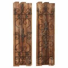 Image Is Loading Rustic Tuscan Vintage Scrolling Garden Gate Wood Metal