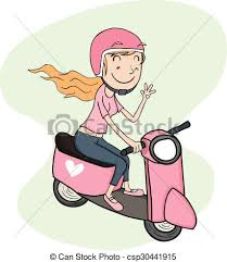 Girl Riding Scooter Vector