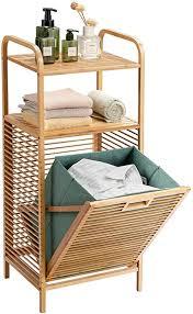 costway badregal mit wäschekorb badezimmer regal aus bambus korbregal mit 2 offenen regalfächern herausnehmbarer stoffeinsatz mit griff grün