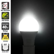 minger sensor lights bulb 7w smart automatic dusk to led