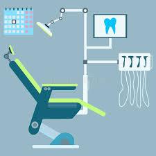 siege dentiste siège dentaire avec l équipement et les outils vecteur médical i