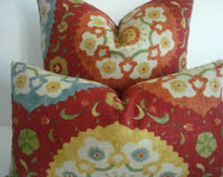 Red Decorative Lumbar Pillows by Red Blue Pillow Etsy