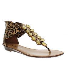 womens low wedge leopard print gold stone embellished ladies