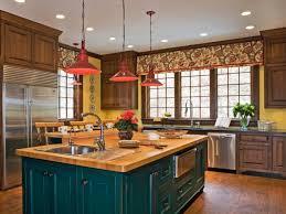 Countertops Backsplash Teak Kitchen Cabinet Red Hanging Pendant Light Wooden Flooring Deep Green