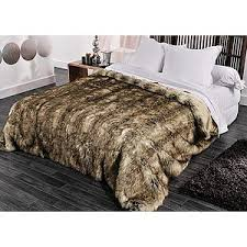 couvre lit jeté de lit fourrure imitation ours grizzly plaid