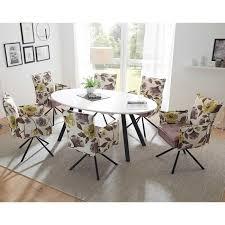 ovaler esstisch design stühle mit blumen motiv atrodata