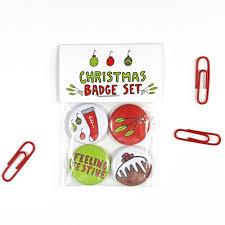 Christmas Badge Set Of 4 25mm Badges