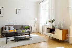 schwarzen tisch auf teppich vor grauen sofa im wohnzimmer interieur mit schrank und poster echtes foto stockfoto und mehr bilder apfel