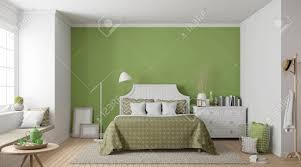 modernes weinlese schlafzimmer 3d das bild überträgt es gibt holzboden dekorieren sie die wand mit grüner farbe und weißen möbeln