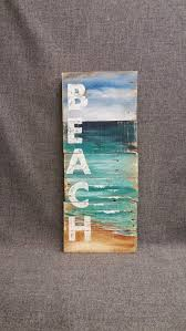 Distressed Reclaimed Wood Pallet Wall Art Hand Painted Sign Seascape With BEACH Cottage