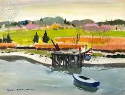 Boats at Low Tide Westport 1958 art by Har Gramatky