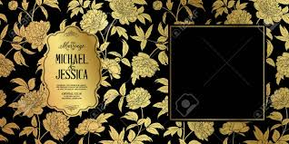 Rustic Wedding Invitation Card Template Golden Peony Flower