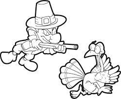 Free Printable Thanksgiving Turkey And Pilgrim Coloring Page