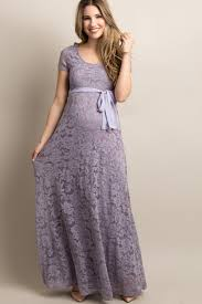 Lavender Lace Sash Tie Maternity Gown