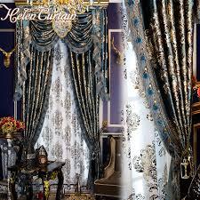 helen vorhang set europäischen luxus vorhänge mit volant für wohnzimmer vorhang set bronzing blau vorhänge bereit made 051