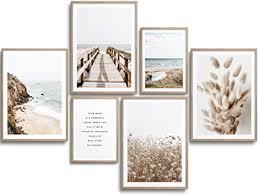 monoko wohnzimmer poster set premium bilder set für schlafzimmer stilvolle wandbilder 6er set ohne rahmen set beige pasgras meer 4x a4