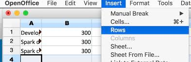 Add multiple rows to an Open fice Calc spreadsheet on mac Super