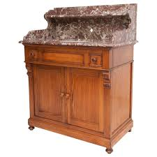 Sherle Wagner Italy Sink by Antique French Vanity Cabinet With Marble Top And Porcelain Swivel