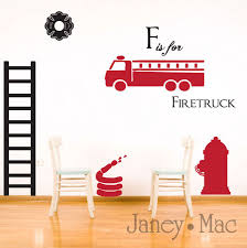 100 Fire Truck Wall Decals Decal Fighter Set Childrens Kids Boy Bedroom