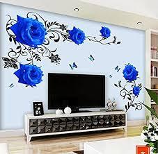 hallobo wandtattoo blau ranke xl blumen wandaufkleber wandsticker wohnzimmer schlafzimmer deco wall sticker dekor