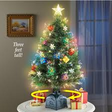 Rotating Tabletop Christmas Tree With Fiber Optic Lights