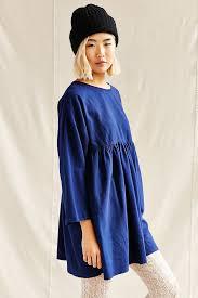 urban renewal recycled ruffle flannel tunic dress in blue lyst
