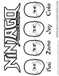 Ninjago All Ninjas Kai Zane Jay And Cole Coloring Page