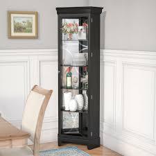 barrel studio nyo lighted corner curio cabinet reviews wayfair