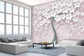 fototapete weiß baum fototapeten tapete wandbild blüten beton effekt m1913