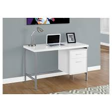 puter Desk with Drawers Silver Metal & White EveryRoom Tar