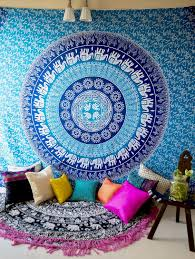 Innovative Ideas Hippie Wall Decor Amazon Com Elephant Mandala Tapestry Hanging Blue