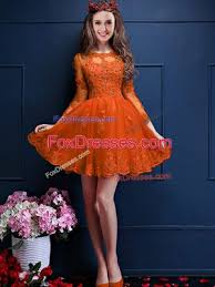 Orange Red A Line Chiffon Scalloped 3 4 Length Sleeve Beading And Lace Appliques