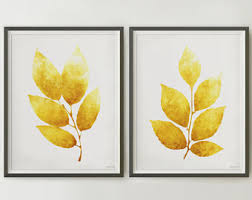 Extremely Creative Yellow Wall Decor Home Designing Inspiration Etsy Posters Dining Room Art Mustard Set Of 2 Leaves Decoration Ideas For Bedroom