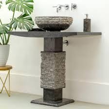 marmor waschtisch säule t model schwarz inkl aufsatzwaschbecken