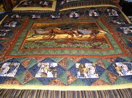 Twin Horse Bedding by Western Horse Quilt Western Bedding Cabin Quilt
