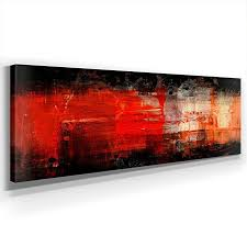 schwarz rot abstrakt panoramabild 150x50cm leinwand
