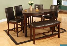 6Pcs Dark Cherry Wood Counter Height Dining Set Triangle Table Bench