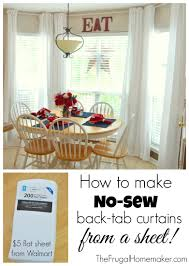 Kitchen Curtain Ideas Diy by How To Make No Sew Back Tab Curtain From A Sheet Mind Blown