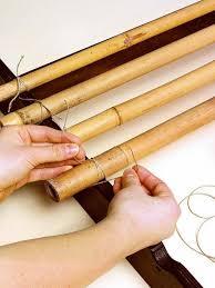 5 diy headboard ideas bamboo sticks attachment to the wooden base