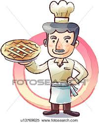 Stock Illustration Baker With A Pie Fotosearch Search Clipart Drawings Decorative