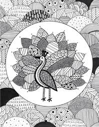 Peacock Doodle Coloring Page Adult