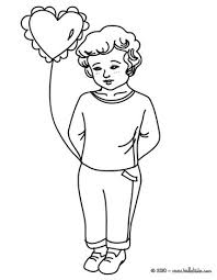 Best Friend For Ever Boy With Love Balloon Coloring Page