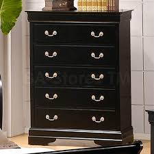 295 20 louis philippe 5 drawer chest in deep black dressers